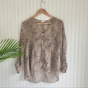 Anthropologie Pins and Needles Cheetah Blouse